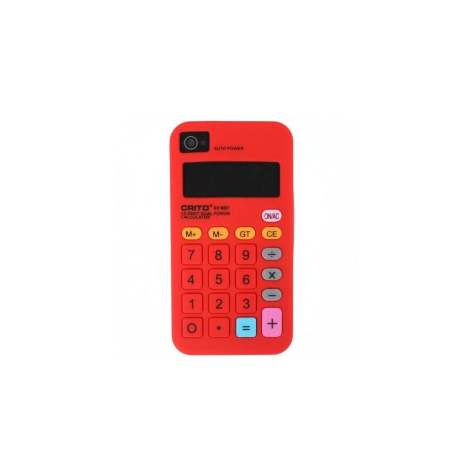Red Calculator Design Soft Silicone Skin Gel Cover Case for Verizon Att Sprint Iphone 4 4S + Microfiber Pouch Bag