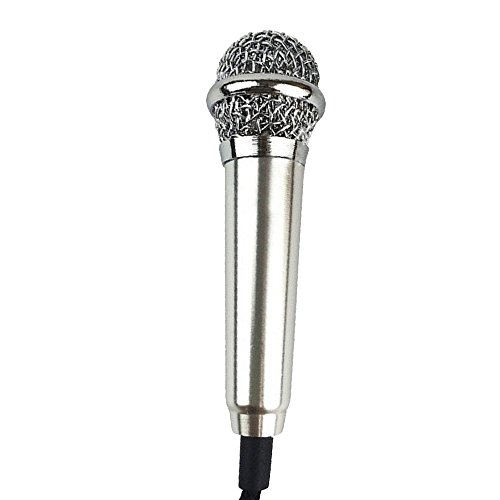 Cuitan Mini Condenser Microphone for Smartphones / Tablets PC / Desktops Computers, Microphone with Adapter Cable Ideal for Phone Calling, Internet Chatting, Vocal Recording, Karaoke Sing - Silver