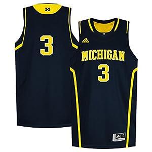 adidas Michigan Wolverines Kid's #3 Replica Basketball Jersey - Navy
