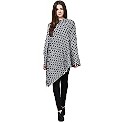 Pluchi Fashion Knitted Cotton Poncho Triny - Med Grey Marl And Black