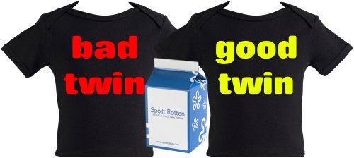 Spoilt Rotten - Good Twin And Bad Twin Twin Set Baby & Toddler Retro T-Shirt 100% Organic Sizes 0-6 months WHITE/BLACK + in funky Milk Carton