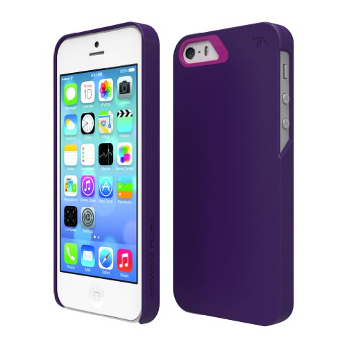 Tech Armor Slimprotect Grip Tough Scratch-Resistant Case / Cover For Iphone 5S / 5 (Cobalt/Berry) Lifetime Warranty