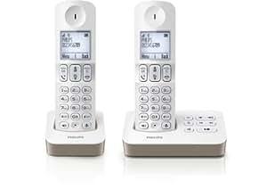 Philips D4052WC/FR Téléphone fixe sans fil Duo 2 combinés avec mode silence Blanc/Taupe