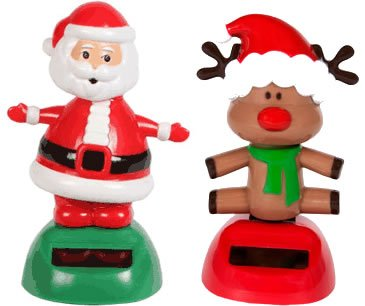 Solar Powered Dancing Christmas Santa and Red Nosed Reindeer Set (Set of 2) by Greenbrier International - 1