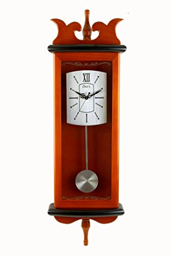 Wall Clock with Pendulum - Wood & Glass Series #5250