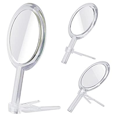 Gotofine® 1x - 5x Magnification Double Sided Hand Held Makeup Mirror with Stand,clear