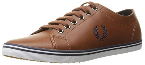 Fred Perry Men's Kingston Leather Fashion Sneaker, Tan/Carbon Blue, 8 UK/9 M US (Perry Shoes compare prices)