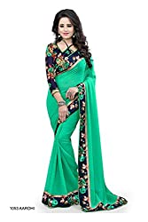 Mati Creation Green Georgette Embroidred Bollywood Saree With Blouse