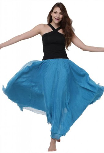 Lookbookstore Women Royal Blue High Stretch Waist Pleated Beach Boho Chiffon Circle Long Maxi Skirt Dress US 6