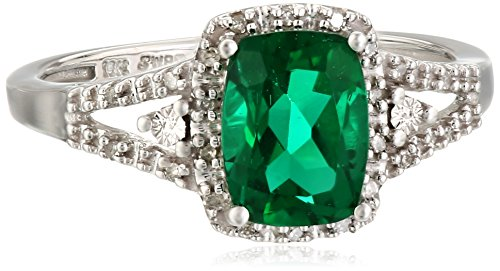 10k White Gold Cushion Simulated Emerald with Round White Diamond Ring, Size 7