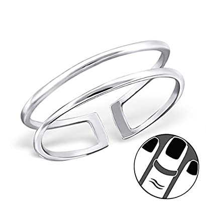 Pro Jewelry 925 Sterling Silver Open Circles Above Knuckle Ring Mid