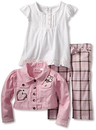Young Hearts Little Girls' Heart 3 Piece Plaid Capri Set, Pink, 4