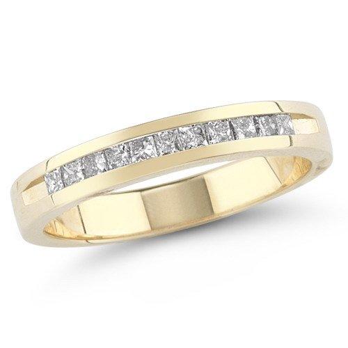 14k Yellow Gold Princess-Cut Diamond Anniversary Band (1/4 cttw, H-I Color, I1-I2 Clarity), Size 5