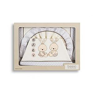 Sabanas 100% Algodón COCHE/CAPAZO 40X80 - Conejo Baby BEIGE (bajera+encimera+funda almohada) - BebeHogar.com