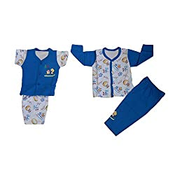 NammaBaby Premium Quality T-Shirt Pant and Nekar Shorts Combo Setof 4 Pc (0-4 months) (BLUE)