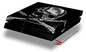 Chrome Skull on Black - Decal Style Skin fits original PS4 Gaming Console