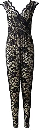 Womens Ladies Celebrity Floral Lace Trim Crochet Wrap over Sleeveless Jumpsuit - Black Lace/Crochet - UK S/M - (95% Polyester 5 % Elastane)
