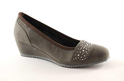 CINZIA SOFT 13904 taupe scarpe donna ballerine decolletè zeppetta 38