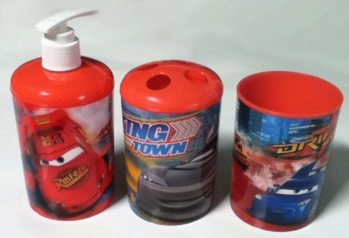 3 Pc Disney Pixar Cars Bath Set - Dispenser - Toothbrush Holder - Cup