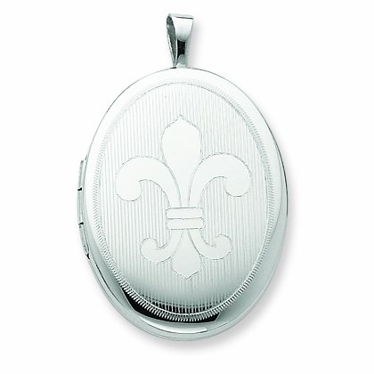 Sterling Silver 20mm Fleur De Lis Oval Locket