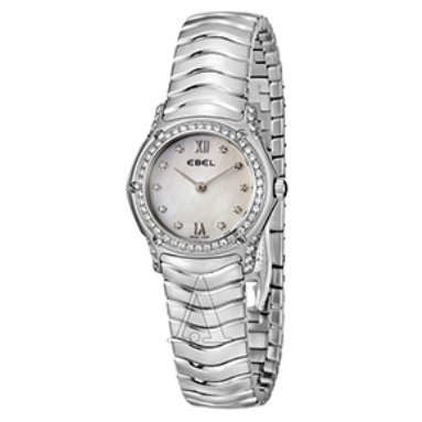 Ebel Classic Mini Wave Mother of Pearl Dial Diamond Markers and Diamond Bezel Women's Watch