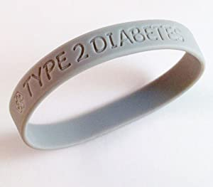 Type 2 Diabetes Medical ID Alert Silicone Bracelet Gray Awareness Color Diabetic