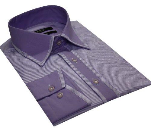 Italian Design Men's High Collar Formal Casual Shirt Contrast Collar Lilac