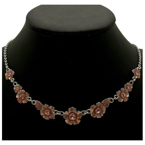 Acosta - Dusky Rose Pink Enamel & Crystal - Dainty Floral Flower Fashion Necklace - Women's Costume Jewellery - Gift Boxed