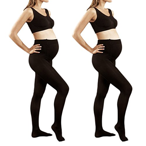 2 Pack of Mod & Tone Maternity Microfiber Opaque Tights, Wide Waist Band (S/M, Black)
