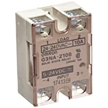 Omron G3NA-210B-DC5-24 Solid State Relay, Zero Cross Function, Yellow Indicator, Phototriac Coupler Isolation, 10 A Rated Load Current, 24 to 240 VAC Rated Load Voltage, 5 to 24 VDC Input Voltage