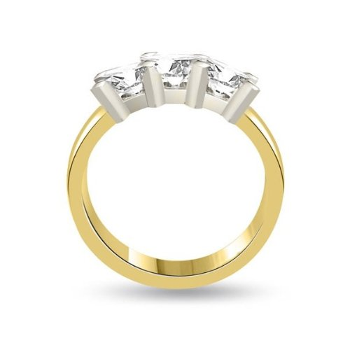 0.60 carat 3 Diamond Trilogy Promise Ring for Women. G/SI1 Round Brilliant Diamond in 18ct Yellow & White Gold