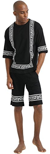 pizoff-unisex-hip-hop-casual-shorts-t-shirts-sets-with-contrast-panels-design-comfortable-cotton-egy