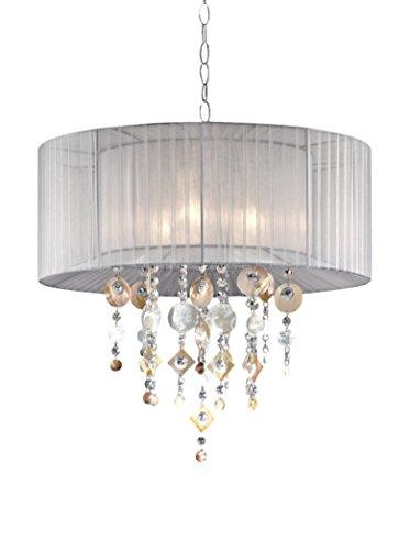 ORE International 21''W Moon Jewel 3-Light Ceiling Lamp, Silver/Ivory