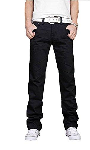 heiße Verkäufe Herren Chinos Slim Fit Cargohose Hose alle Größen (schwarz, 30WX32L)