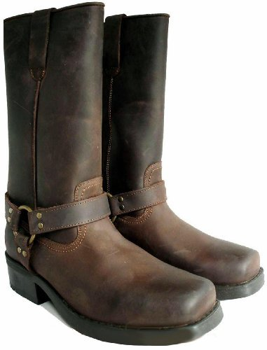 Mens Long Brown Leather Biker Cowboy Boots Size 10