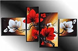 Pyradecor Modern 4 Panel 100% Hand Painted Full Bloom in Spring Red Flowers Large Size Oil Painting on Canvas Abstract Floral Wall Art for Living Room Décor Home Decorations FL4051L