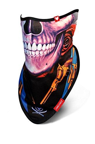 Wolface Skull & Guns-Maschera da sci e snowboard protezione viso e collo, sciarpa, bandana, scaldacollo multifunzione