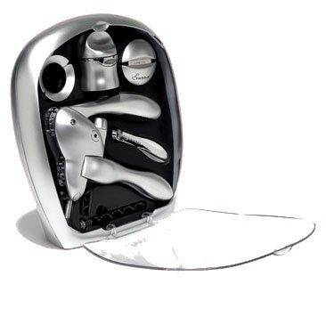 Metrokane Rabbit 6-Piece Wine Tool Kit, Silver