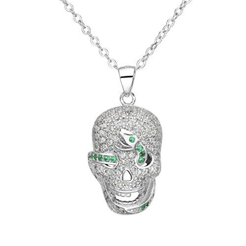 EVER FAITH???Cancella collana del pendente argento 925 CZ Halloween Gothic Skull Green Snake delle donne