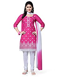 Saree Swarg Pink and White Dress Material