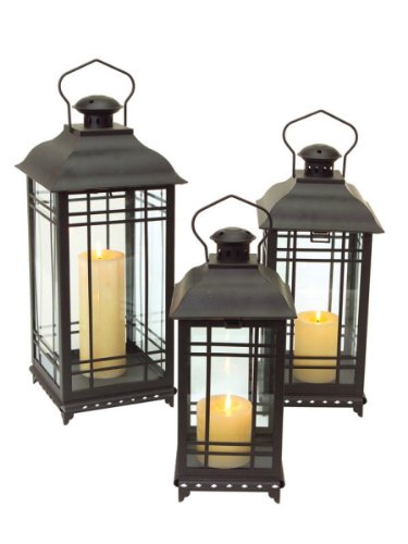 Set of 3 Black Mission-Style Decorative Glass Pillar Candle Lanterns