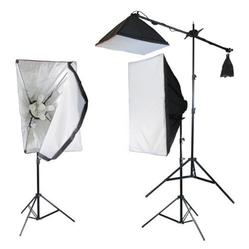 PhotoGeeks 3 Light Super 5 Softbox Continuous Photography Lighting Kit / 2550w / 50 x 70cm Soft Boxes / 10 45w & 1 60w 5500k Bulbs / Boom Arm