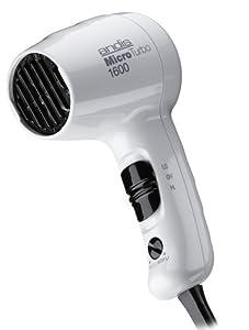 Andis Micro Turbo 1600 Watt Dual Voltage Hair Dryer, White (33805)