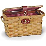 Quickway Imports QI003046 Picnic Basket with Red White Plaid Lining (Discontinued by Manufacturer)