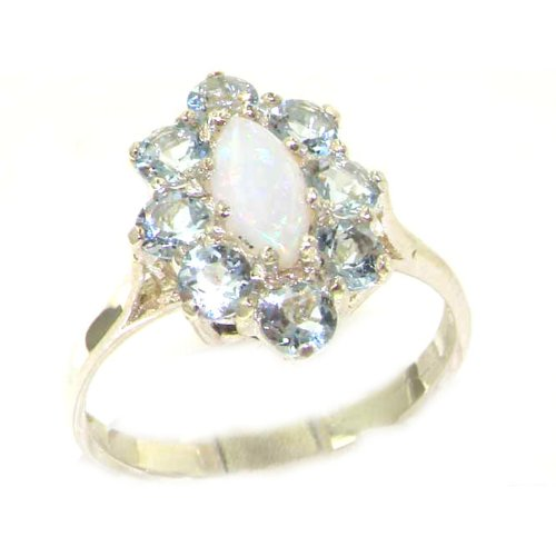 Luxury Ladies Solid White Gold Natural Opal & Aquamarine Marquise Cluster Ring - Size 9.75 - Finger Sizes 5 to 12 Available