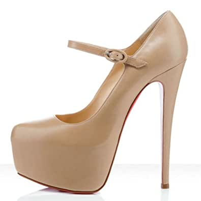Zehui Sexy Vogue Women's Mary Jane Pumps Stiletto Platform Super High Heel Party Shoes Beige 39