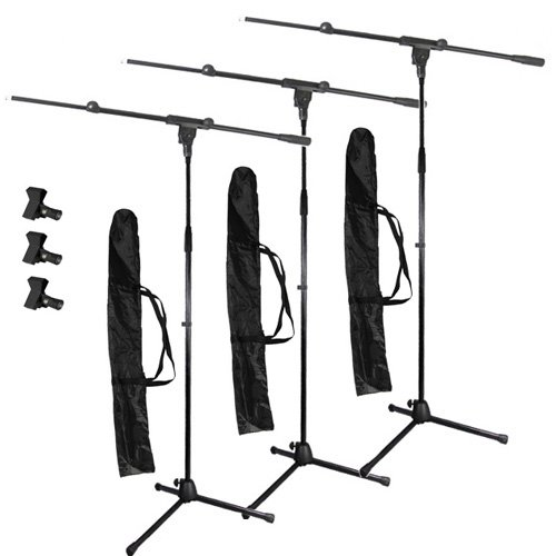 Podium Pro Adjustable Steel Microphone Stands, Booms, Clamp Clips And Bags 3 Stand Set Ms2Set10-3S