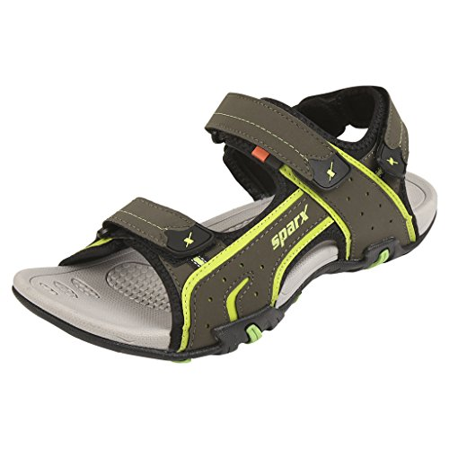 Sparx-Mens-SS0438-Series-Olive-Fluorescent-Green-Synthetic-Casual-Sandal