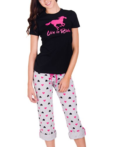 Juniors Live To Ride 2 Piece Pajama Set With Heart Capri Pants (Medium, Pink/Black)