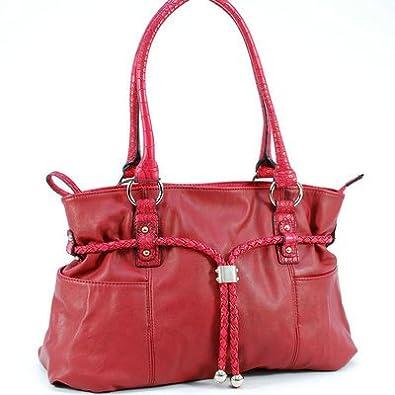Dasein Tasseled Drawstring Shoulder Bag Simulated Leather Red